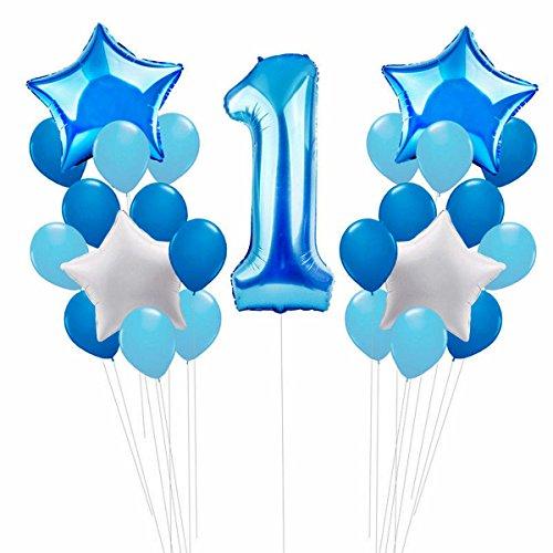 ZCOINS Set di Decorazioni per Il 1 ° Compleanno, Grande Numero di stagnola, 30 Pezzi di Palloncini in Lattice e 4 Pezzi di Palloncini Stellato Blu per Bambini Felici
