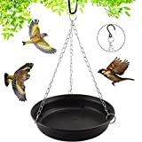 Miwasion 11 Inch Hanging Bird Bath Bowl for Outdoors,Bird Bath with Chains for Yard Garden and Outdoor Bird Drinker (11inch-1 Pack, Black)