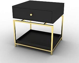 MMWYC Mesita de Noche Dormitorio Mesita de Noche Armario Muebles de Almacenamiento multifuncionales con cajón de Tela for Dormitorio (Color : Black)