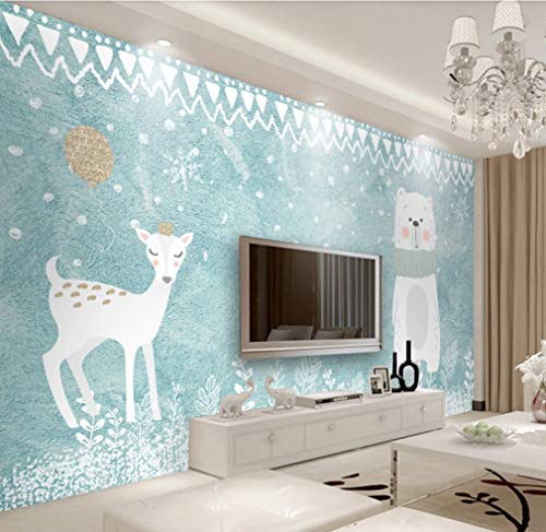 Wallpaper Cartoon Cute 3D Polar Bear Children Bedroom Background Art Mural Home Decoration DIY Poster Sticker 150(W) X105(H) cm Silk Cloth (Customizable Size)