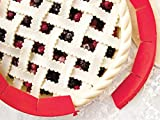 Tan, don't burn your beautiful pie crust; the ORIGINAL adjustable pie shield protects your pie crust while baking, so the center gets a nice golden glow but the edges don't burn; only from Talisman Designs Adjustable food safe silicone pie shield eas...