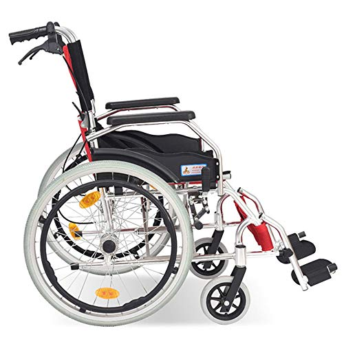 MYYLY rolstoel, gemakkelijk inklapbare handmatige rolstoel van aluminium, grote opbergtas achteraan, geschikt voor ouderen en mensen in nood rolstoelen