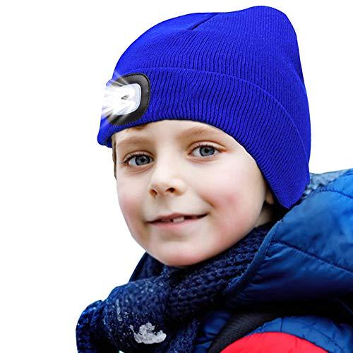 onehous Gorro de punto para niños con luz LED para mantener el calor, regulable, luz recargable por USB, gran regalo para niños y niñas azul M