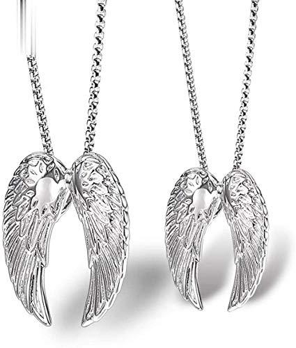 NC110 Par par de alas de Plumas Collar de Acero de Titanio Europa y América ala de ángel Fundido Hombres y Mujeres Colgante Joyería de Acero Inoxidable YUAHJIGE