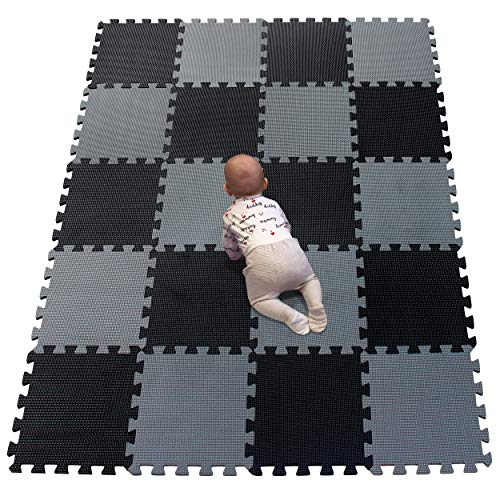 YIMINYUER Stomping Ground Toys - 20 Alfombras Puzzle EVA Coloridas Alfombras de Foam Encajables para Actividades Infantiles en el Piso Negro Gris R04R12G301020