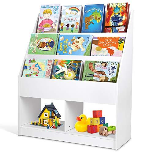 amzdeal - Estantería Infantil, Estantería para Juguetes, Librería para Niños, con Almacenamiento de Juguetes, Librería Infantil para Sala de Lectura, Guardería,Preescolar, 80 * 32 * 96cm