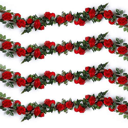 Ruiuzi Künstliche Rosenranken, künstliche Rosen, Girlande, Seidenblumen zum Aufhängen, für Hotel, Hochzeit, Zuhause, Party, Garten, Handwerk, Arch Arrangement Dekoration (Rot, 2 Stücke-10Flower)