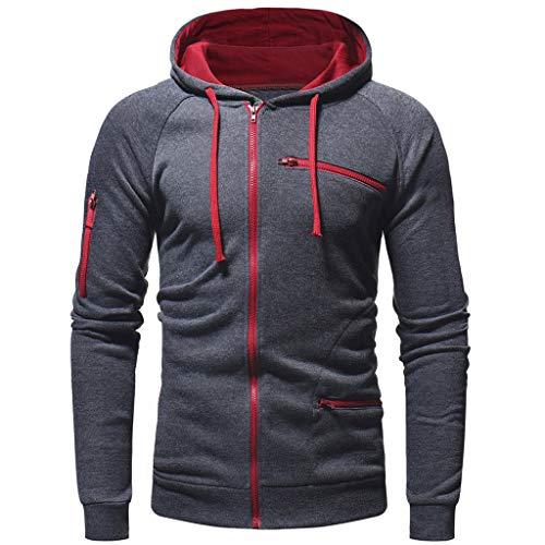 DNOQN Herren Paar Warme Feste Reißverschluss Stehkragen Langarm Sport Outdoor Coat Outwear Grau XL