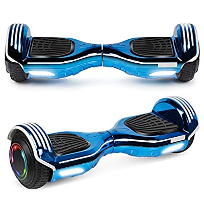 """UNI-SUN 6.5"""" Hoverboard for Kids, Two Wheel Electric Scooter, Self Balancing Hoverboard with Bluetooth and LED Lights for Adults, UL 2272 Certified Hover Board (Bluetooth Chrome Blue)"""