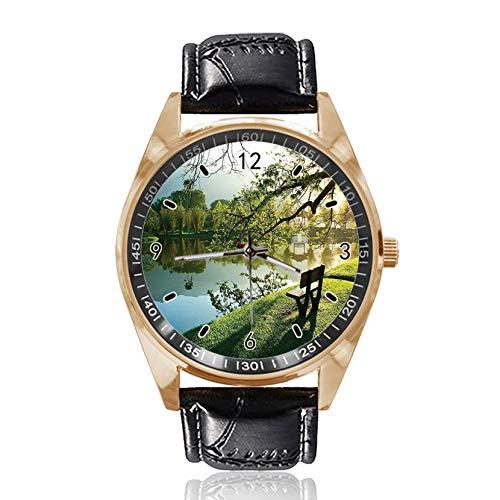 Armbanduhr mit Holzstuhl, personalisiertes Design, analog, Quarz, goldfarbenes Zifferblatt, klassisches Lederband für Damen und Herren