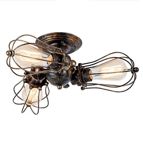 Vintage Concepteur Plafonniers Noir Autour Fer Gril de radiateur Abat-jour de lampe Plafonnier Créatif 3 cuiseur Lustre Éclairage Pour Manger Cuisine Salon 360 n° Pivotant Luminaire Ø14 cm E27