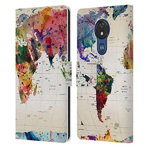Head Case Designs Offizielle Zugelassen Mark Ashkenazi Weltkarte Pop Kultur Leder Brieftaschen Handyhülle Hülle Huelle kompatibel mit Motorola Moto G7 Power