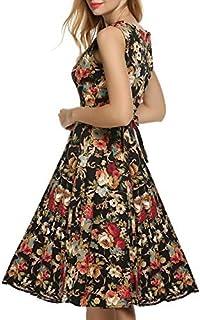 ?????? ゼリーBlooming Jellyレディース ワンピース ドレス Aライン ノースリーブ リボンベルト付 花柄 結婚式 パーティー 大きいサイズ対応 レトロ 花柄 エレガント ワンピース ドレス 優雅で上品 ワンピース ドレス L