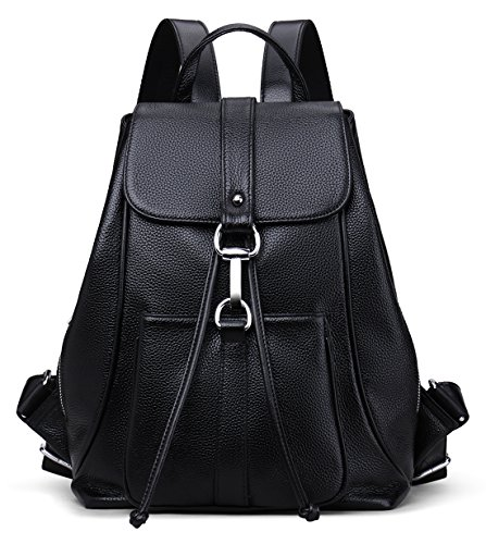 """[Materials]: Top Grain Cowhide Leather. Zippered Closure with High Quality Silver Hardware.Dark Brown Interior Polyester. [Dimensions]:10""""L x 5.5""""W x 14""""H , Weight:35 oz . Hook-and-eye closure with interior drawstring for extra security, Adjustable s..."""