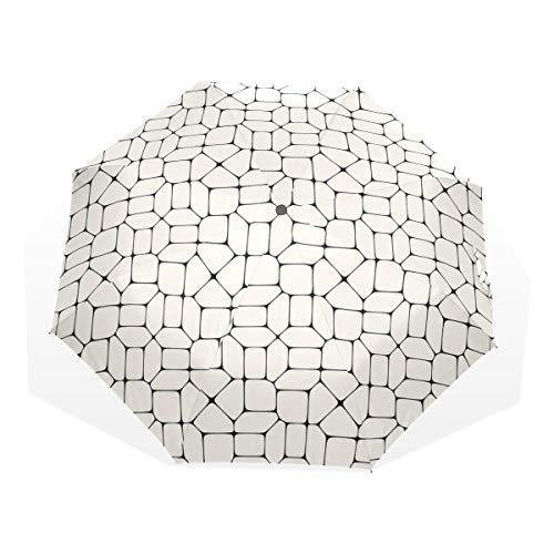 LASINSU Paraguas Resistente a la Intemperie,protección UV,Paraguas Ligero,Pavimento de Mosaico en Blanco y Negro Azulejos Ladrillo Diseño de tracería Conceptual Moderno,Plegable