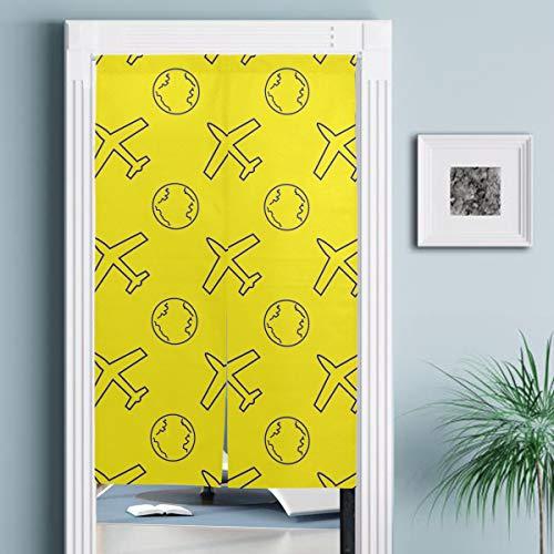 JISMUCI Vorhänge für Türen,Nahtloses Muster Flugzeug Globus Vektor Illusration,Türvorhang Für die Küche Wohnzimmer Schlafzimmer