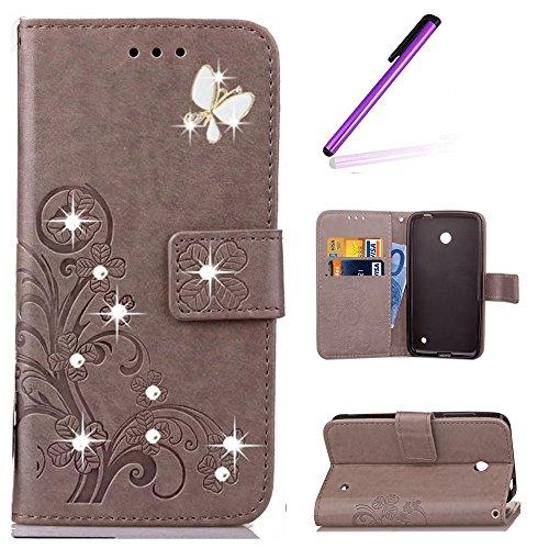 EMAXELERS Nokia Lumia 630 Hülle PU Lederhülle Bookstyle Handyhülle Flip Glitzer Asche Brieftasche Bumper mit Kartenfächer Wallet Tasche Etui für Nokia Lumia 630/635,Diamond Gray Clover with Diamond