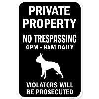 PRIVATE PROPERTY ブラックマグネットサイン:ボストンテリア シルエット 英語 私有地 無断立入禁止