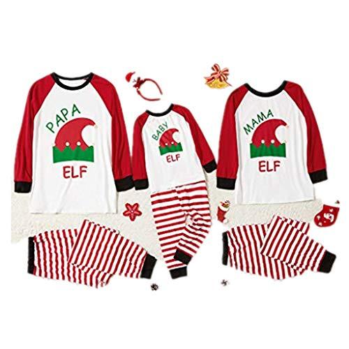 Christmas Family Matching Striped Pyjamas Set for Kids Mom Dad Merry Xmas(A-419,XS)