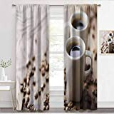 Blackout Curtains Coffee, Espressos in Cups Table Sliding Door Insulated Curtains for Patio Door W72 x L84 Inch