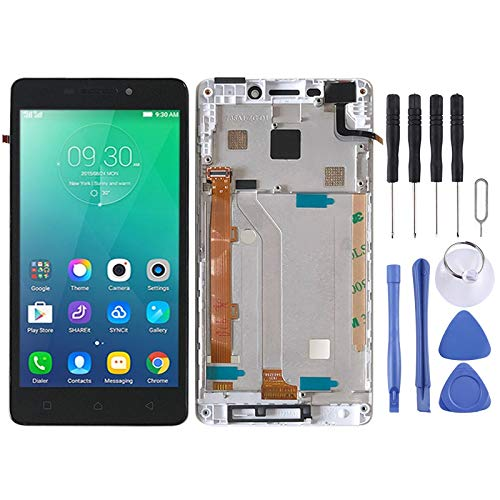 Zhangli Mobile Phone LCD Screen LCD Screen and Digitizer Full Assembly with Frame for Lenovo Vibe P1m P1ma40 P1mc50(White) LCD Screen (Color : White)
