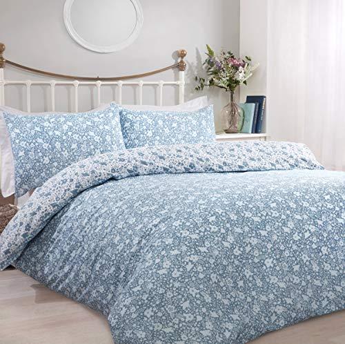 Sleepdown Ditsy - Juego de Funda de edredón Reversible con Funda de Almohada (135 x 200 cm), diseño Floral Azul