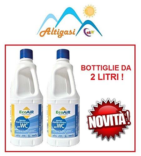 Altigasi Lot de 2 bouteilles de 2 litres d'additif liquide pour le traitement des eaux noires de camping car, principe actif : Aqua Kem