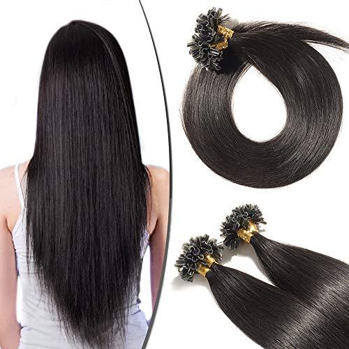 Extension Cheveux Naturel Keratine Pose a Chaud 100 Mèches/50g #1B Noir naturel - 50cm