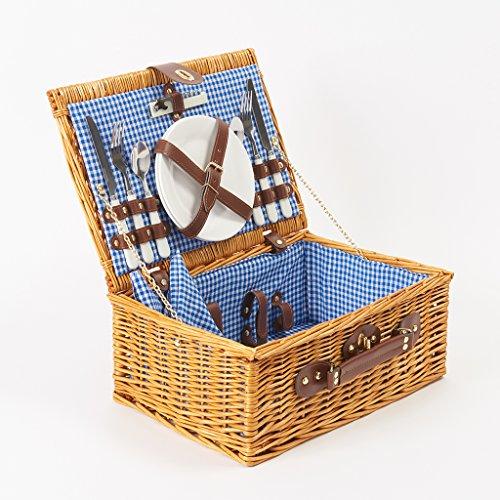 Roots&Beachルーツアンドビーチ2人用ピクニックバスケットピクニックセットカトラリーお皿ワイングラスボトルオープナー布ナプキン付きHamperWickerPicnicBasketsfor2Peopleキャンプピクニックグランピングバスケットアウトドア食器