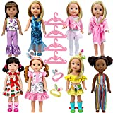 ARTST 14.5-inch-Doll-Clothes and Accessories (8 Sets) fit for 14-inch Dolls,Compatible with 14-inch-American-Girl welliewishers-Dolls