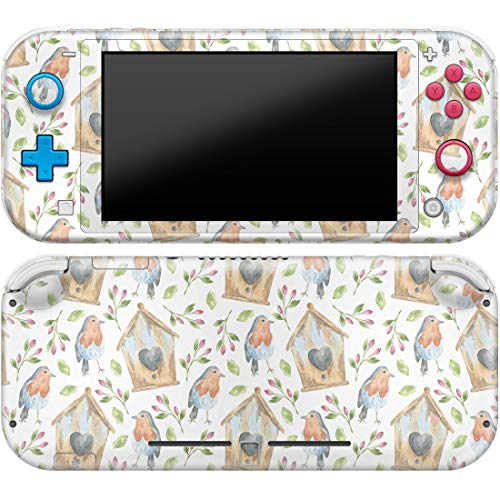 Cavka Vinyl Decal Skin Compatible with Console Switch Lite (2019) Stickers with Design Birdhouse Pattern Watercolor Paint Print Cover Protector Hip Faceplate Branch Full Set Rose Pastel Durable Wrap