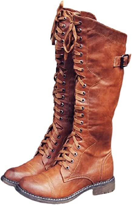 1940s Women's Footwear SO SIMPOK Womens Round Toe Lace Up Knee High Riding Boots Low Heel Criss Cross Combat Boots  AT vintagedancer.com