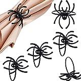 Boao 6 Pieces Halloween Spider Napkin Ring Black Spider Napkin Holder for Halloween Party Table Decorations