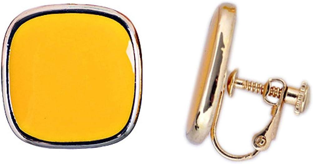 Clip on Earrings Charm Sweet Square Earring Women Girls Gold Fashion Jewelry non Piecred Yellow Enamel