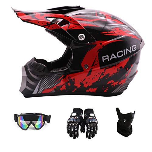 Motocross Helmet, Fashion Youth Kids Dirt Bike Helmet, Unisex-Adult Dirt Bike Off-Road Mountain Bike Motorcycle Helmet, DOT Approved (Gloves, Goggles, Face Shield), 4Pcs Set,Red,XL