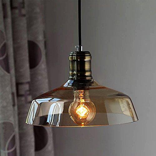 NIUYAO Lampe Suspension Lustre Bol en Métal&Verre Abat-jour avec Douille Loft Style Industriel Vintage Pendentif Lumière