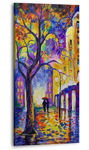 YS-Art | Acryl Gemälde Herbstmelodie | Handgemalte Leinwand Bilder | 120x60cm | Wandbild Acrylgemälde | Moderne Kunst | Leinwand | Unikat | Mehrfarbig