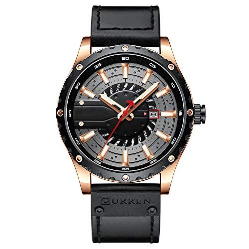 Eantpure Business Casual Reloj,Impermeable, Reloj con cinturón, Negocios, Calendario Reloj para Hombre-D,Impermeable Elegante Relojes