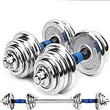 NIMO Set di Manubri Regolabili con Pesi e Dischi per Bilanciere, Convertitore di Manubri per Bodybuilding (20KG)