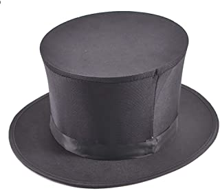 Folding Top Hat-Magician's Collapsible Black Top Spring Hat Magic Trick Essential Prop Stage Accessories Gimmick