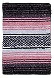 El Paso Designs Mexican Yoga Blanket | Colorful Falsa Serape |Park Blanket, Yoga Towel, Picnic, Beach Blanket, Patio Blanket, Soft Woven Saddle Blanket, Boho Home Décor (Pink and Gray)