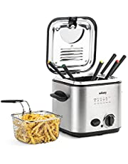 Wëasy TB600 Elektrische friteuse en fondue, 2-in-1, 1,2 l, roestvrij staal, multifunctioneel, compact, 6 vorken, geurfilter, afneembare mand, instelbare temperatuur, zilver/zwart, 840 W, 1,2 l