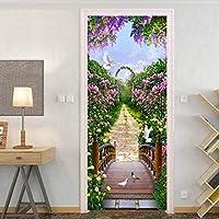 ドアステッカー 3Dウォールミューラルアート美しい花のポスター壁紙ステッカー自己粘着取り外し可能な壁の論文ホームステッカー (Sticker Size : 95x215cm)