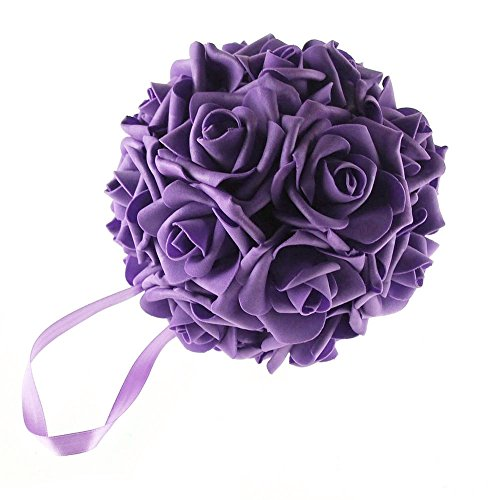 "Homeford FNS008562PUR Soft Touch Foam Kissing Ball Wedding Centerpiece, 6"", Purple"