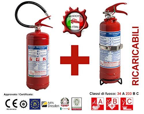 Estintore 6Kg Polvere 21063-7 + Estintore 1Kg Polvere 21010 - Marca Emme PED 2014/68/UE