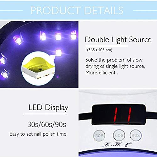UV Nail Lamp 36W, LED UV Light Nail Dryer Portable Manicure Kit LED UV Gel Nail Light with Timer/Sensor/LCD Display/USB Design Nails Polish Dryer Pro Nail Lamp for UV Resin and UV LED Gel Polishes