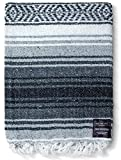 Mexican Blanket, Falsa Blanket | Authentic Hand Woven Blanket, Serape, Yoga Blanket | Perfect Beach Blanket, Navajo Blanket, Camping Blanket, Picnic Blanket, Saddle Blanket, Car Blanket (Gray)