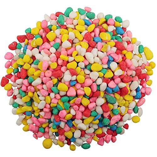 Lainrrew 2.2 lb Decorative Rocks, Mini Rainbow Confetti Pebbles Aquarium Gravel Mix Colored Stones Succulent Cactus Bonsai Gritty Mix Rocks for Top Dressing, Potted Plants, Lanscaping (6-9mm)
