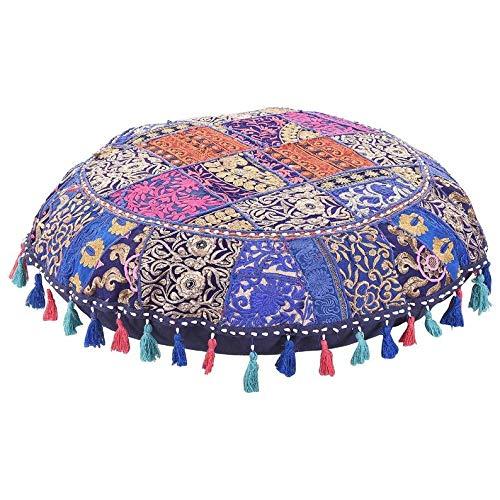 Taburete de algodón indio hecho a mano, estilo vintage, bohemio, bordado a mano, decorativo, étnico, cojín redondo y funda de cojín para asiento, puf otomano (azul marino, 45,72 cm)