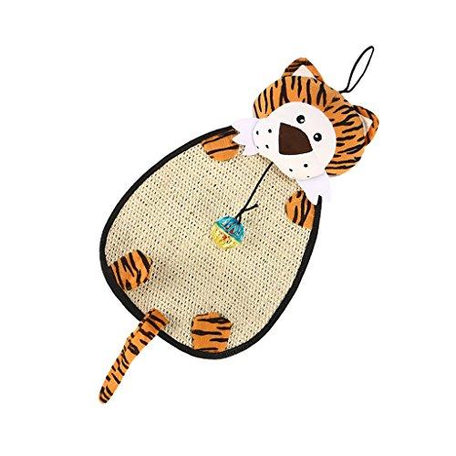 petsola Kratzmatte Sisal Katzen Teppich Katzenmatte Zum Wetzen Der Krallen, Kratzteppich Sisalmatte Sisalteppich Mit Glocke Für Boden Oder Wand - Tiger